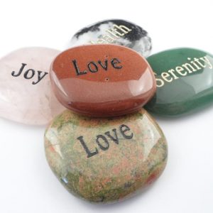 Word Soothing Stones, 5pc Gallet rubbing stones