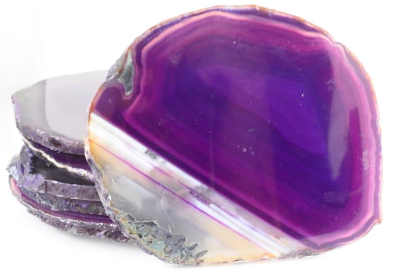 Agate Slabs, Purple, pack of 10 size 4 Agate Slabs agate