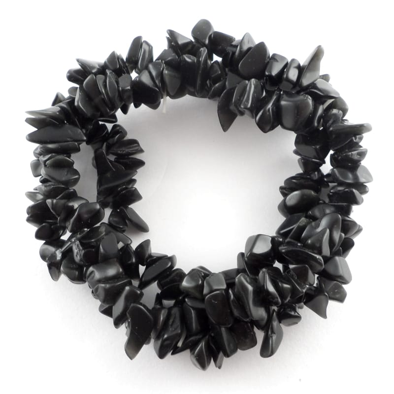 Black Obsidian 3-Strand Chip Bracelet All Crystal Jewelry black obsidian