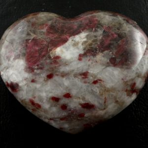 Ruby Tourmaline in Quartz Heart Polished Crystals heart
