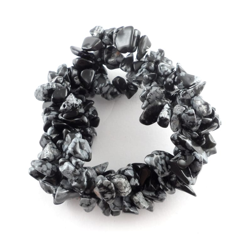 Snowflake Obsidian Three Strand Chip Bracelet All Crystal Jewelry bracelet