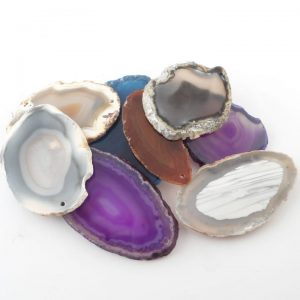 Agate Slabs, Mixed, pack of 10 size 00 drilled Agate Slabs agate slab