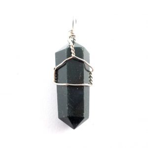 Bloodstone Pendant, wire wrapped Crystal Jewelry bloodstone
