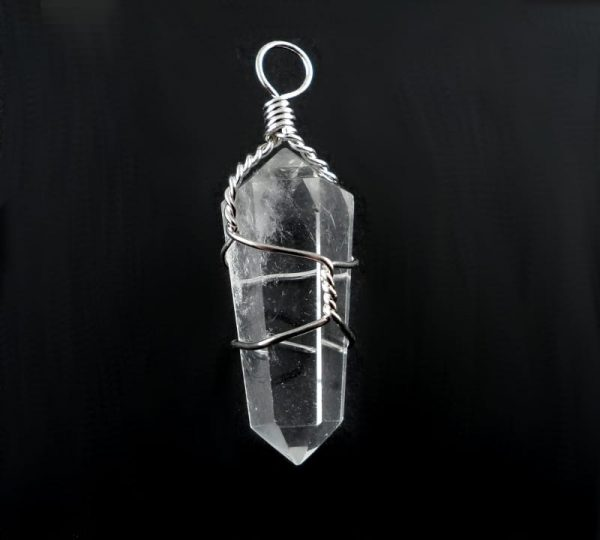 Quartz Pendant, wire wrapped All Crystal Jewelry pendant