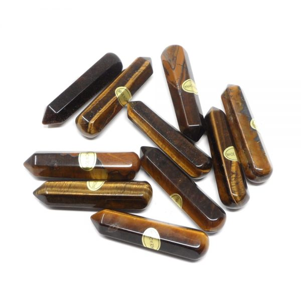 Tiger Eye Wands pack of 10 All Polished Crystals bulk crystal wands
