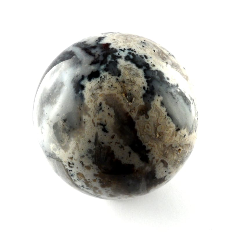 Agate,Dendritic White, Sphere, 70mm All Polished Crystals