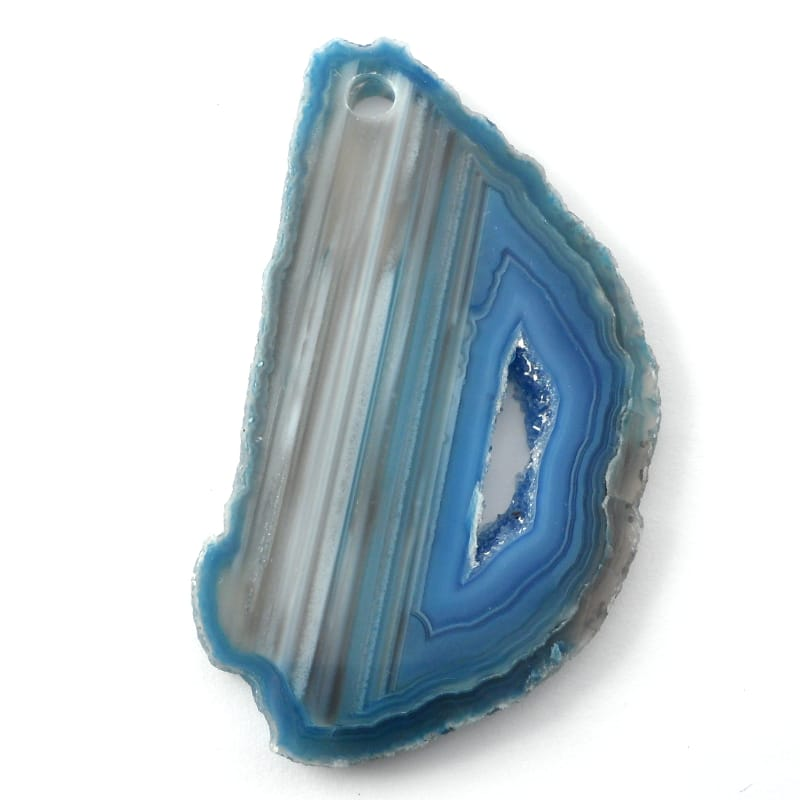 Agate Slice, Blue, drilled Agate Slabs agate