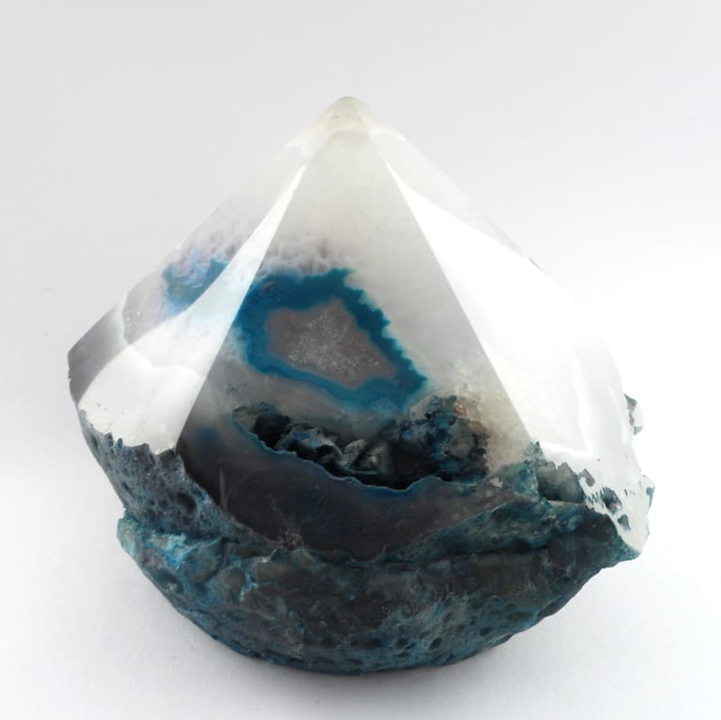 Agate Point, Top Polished, Teal All Raw Crystals