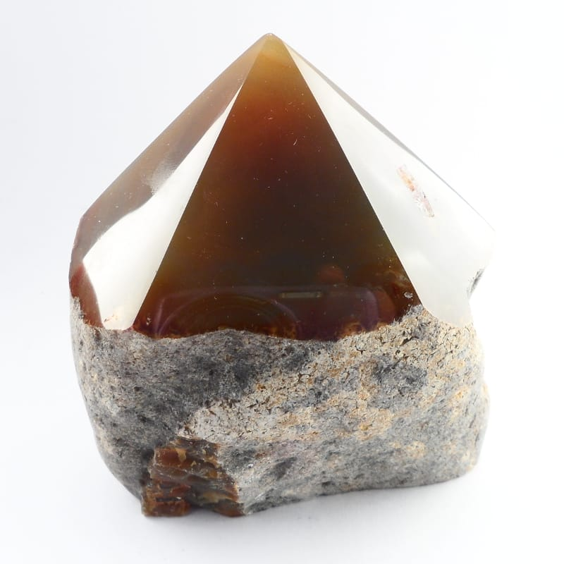 Agate Point, Top Polished, Brown All Raw Crystals agate