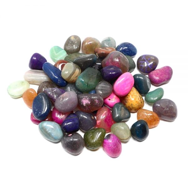 Dyed Agate md tumbled 16oz All Tumbled Stones agate healing properties