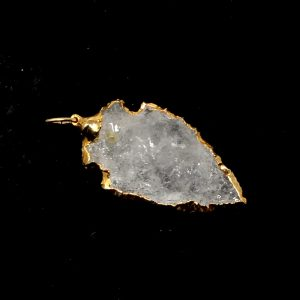 Clear Quartz Gold Arrowhead Pendant All Crystal Jewelry 24k gold