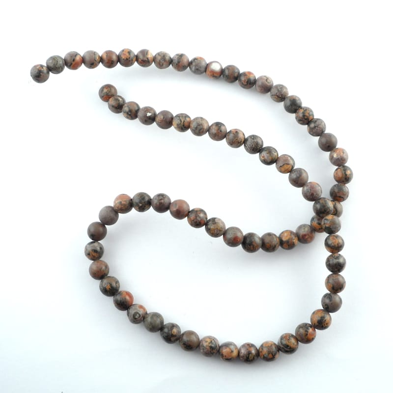 Leopardskin Agate 6mm Round Bead Strand All Crystal Jewelry
