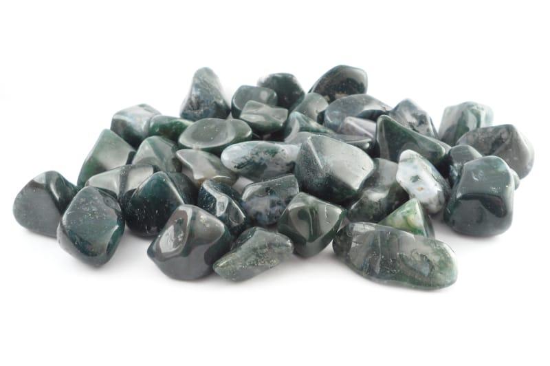 Agate, Moss, tumbled, 8oz All Tumbled Stones agate
