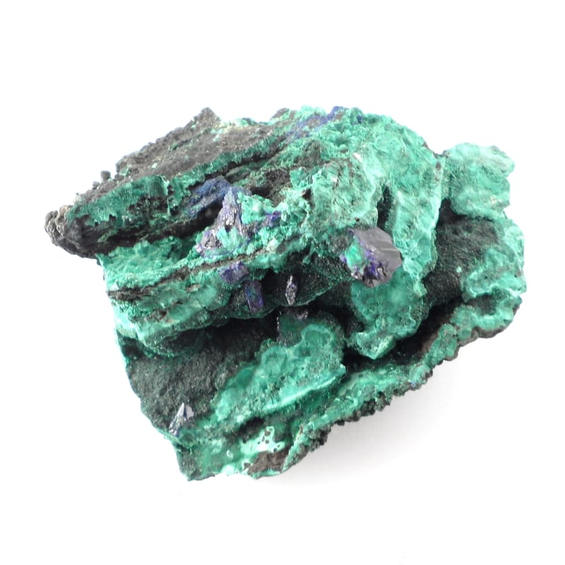 Azurite and Fibrous Malachite specimen Raw Crystals azurite