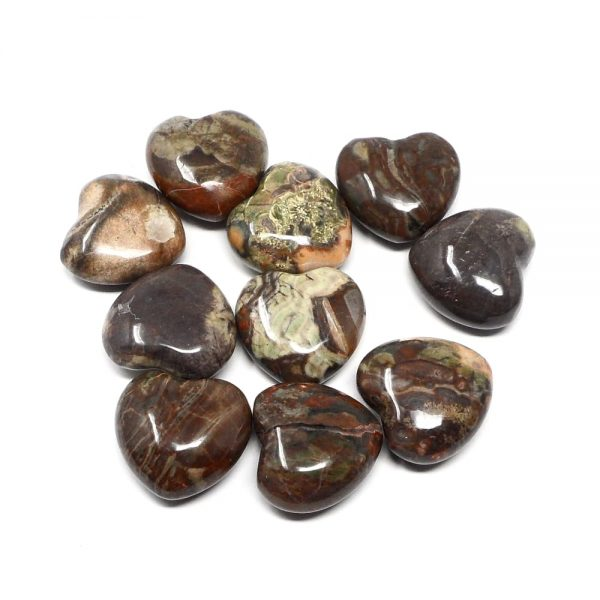 Rhyolite Hearts bag of 10 All Polished Crystals birds eye jasper hearts