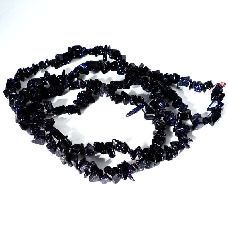 Goldstone, Blue Chip Bead Necklace All Crystal Jewelry blue goldstone