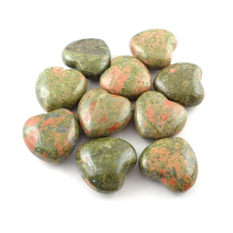 Unakite Hearts, bag of 10 Polished Crystals heart