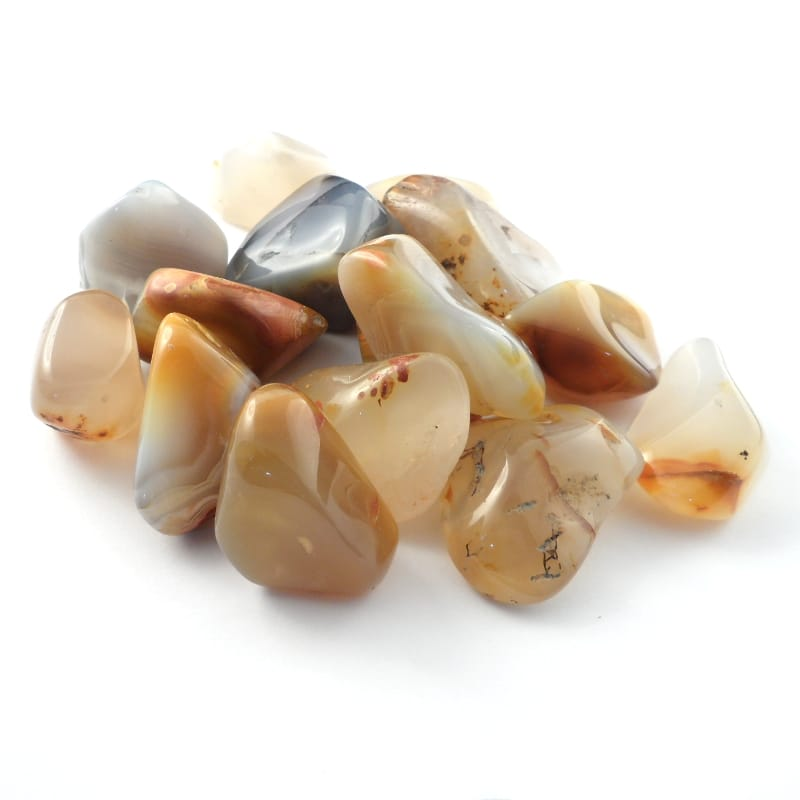 Agate, Banded, tumbled, md to lg, 8oz All Tumbled Stones agate
