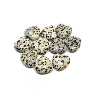 Dalmatian Jasper Hearts bag of 10 All Polished Crystals bulk jasper hearts