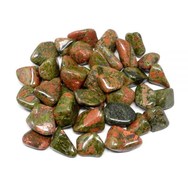 Tumbled Unakite lg 16oz All Tumbled Stones bulk unakite