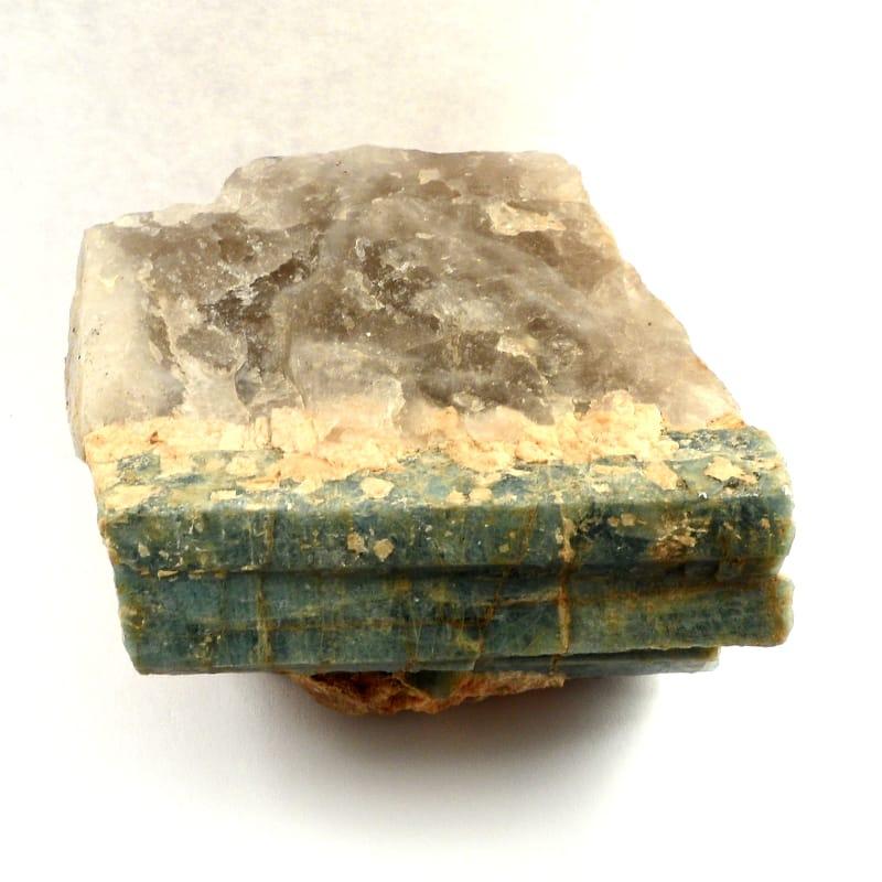 Tourmaline, Blue/Green on Quartz Raw Crystals blue tourmaline