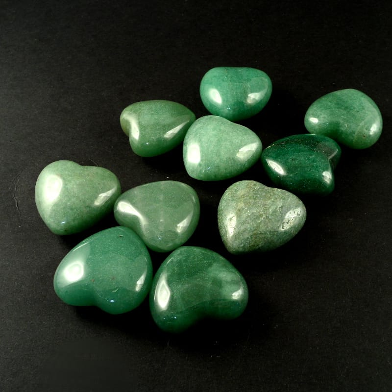 Aventurine Hearts bag of 10 All Polished Crystals aventurine