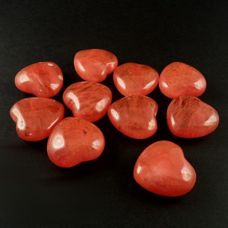 Quartz, Cherry, Hearts, bag of 10 All Polished Crystals cherry quartz