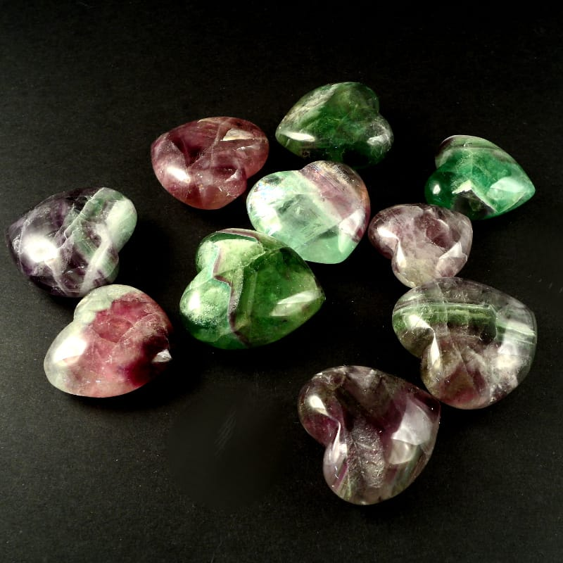 Fluorite, Heart, bag of 10 All Polished Crystals