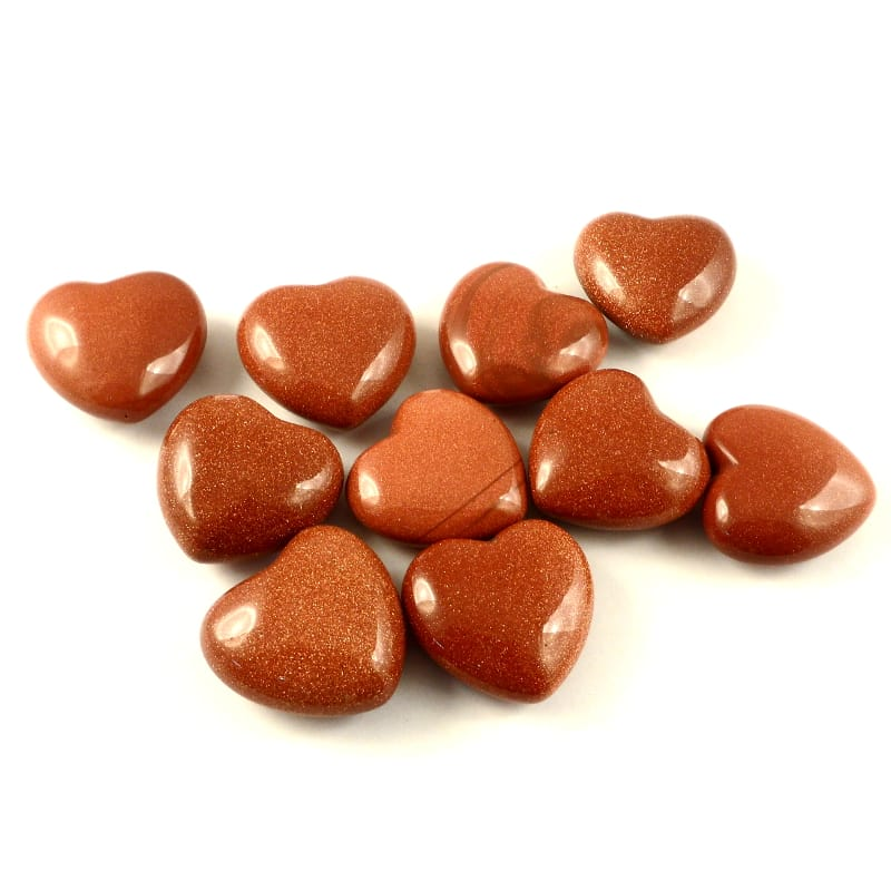 Goldstone Hearts, bag of 10 All Polished Crystals bulk crystal hearts