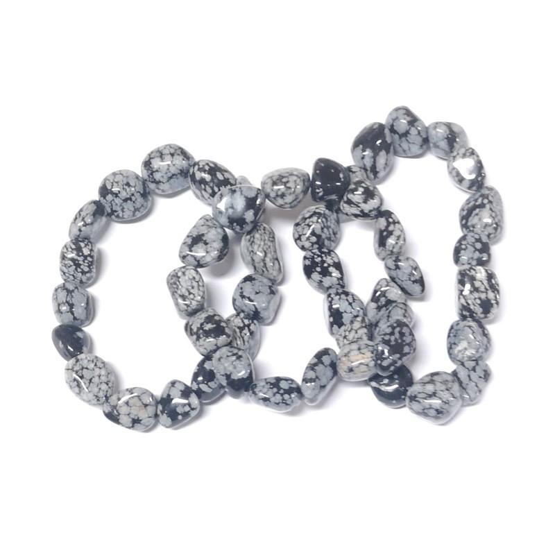 Snowflake Obsidian Tumbled Stone Bracelet All Crystal Jewelry bracelet