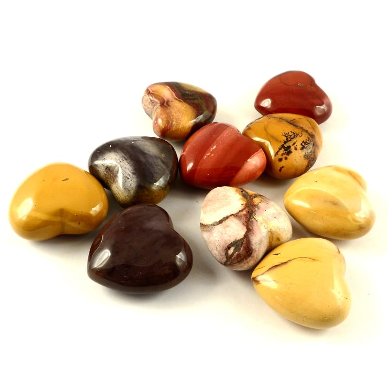 Mookaite, Hearts, bag of 10 Polished Crystals heart