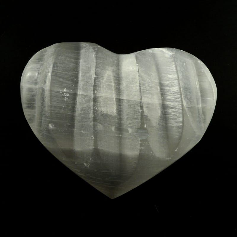 Selenite Groove Heart Polished Crystals heart