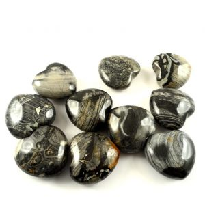 Jasper, Silver Lace, Hearts, bag of 10 All Polished Crystals heart