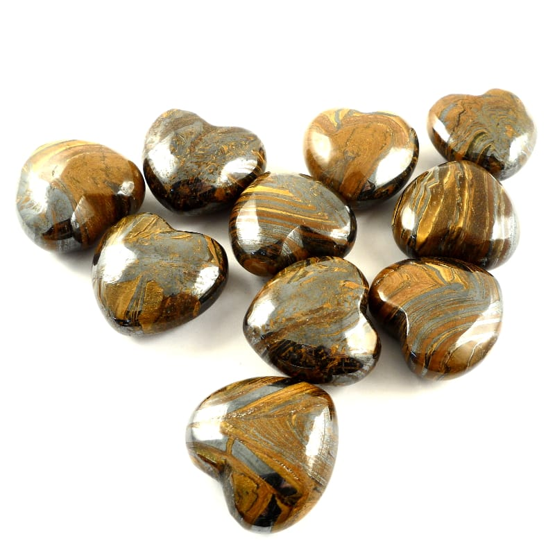 Tiger Eye, Heart, bag of 10 Polished Crystals heart