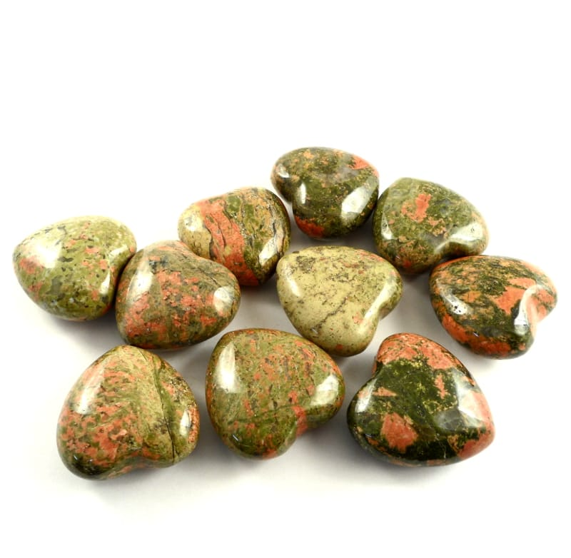 Unakite Hearts, bag of 10 All Polished Crystals
