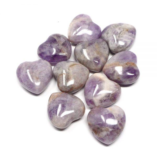 Amethyst Hearts, bag of 10 All Polished Crystals amethyst