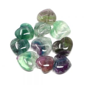 Fluorite Hearts, bag of 10 All Polished Crystals bulk crystal hearts