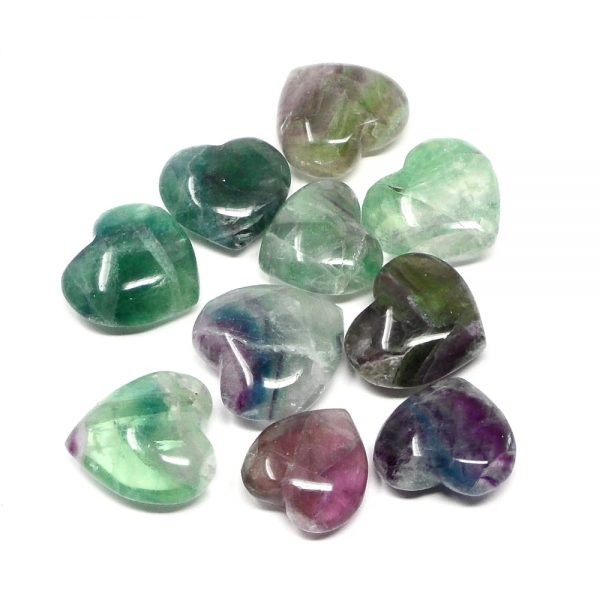 Fluorite Hearts, bag of 10 All Polished Crystals bulk crystal hearts