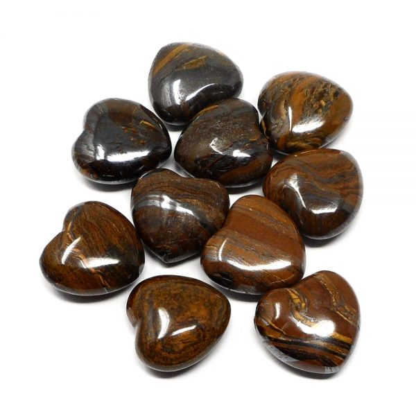 Tiger Iron Hearts bag of 10 All Polished Crystals bulk crystal hearts