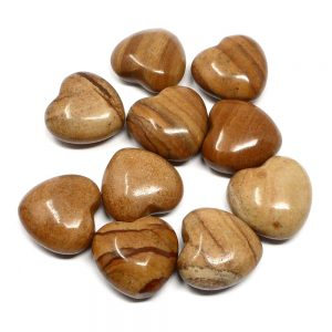 Picture Jasper Hearts, bag of 10 All Polished Crystals 30mm hearts