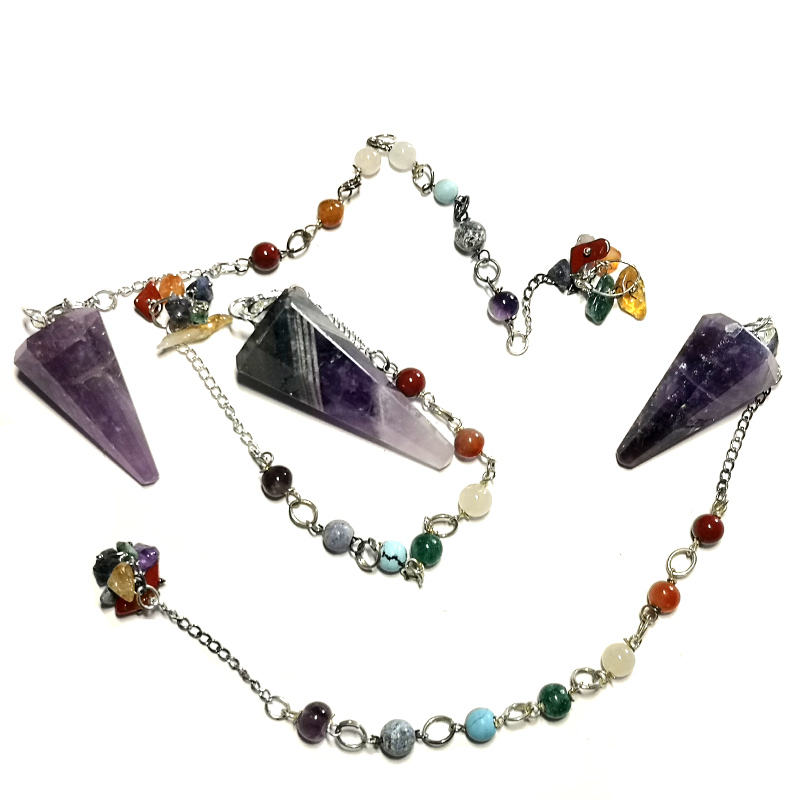 Amethyst Pendulum, Six Sided Point with Chakra Chip Bracelet