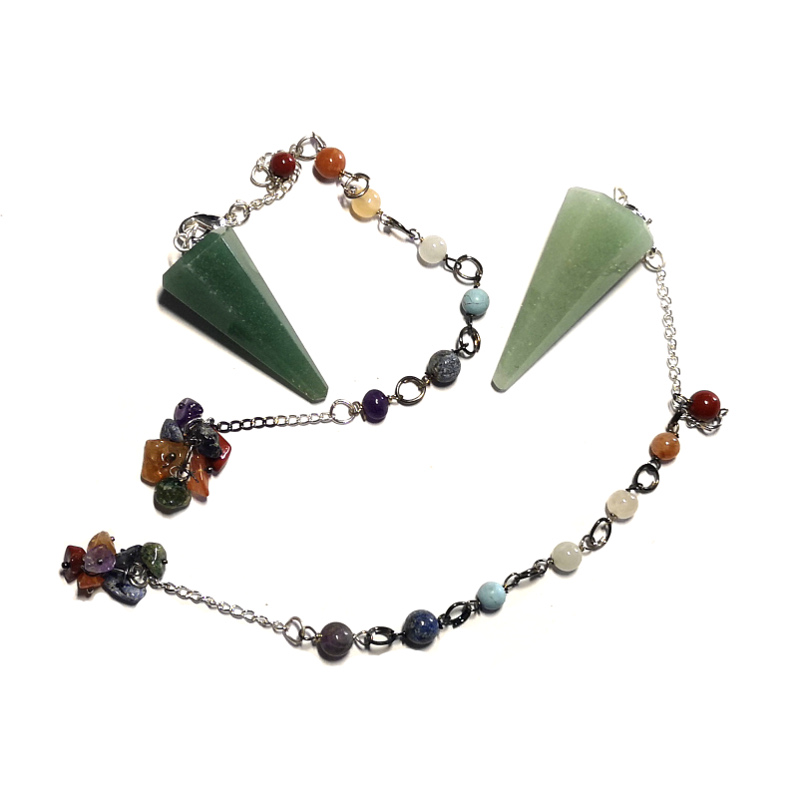 Aventurine Pendulum, Six Sided Point with Chakra Chip Bracelet
