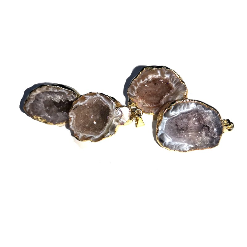 Agate Geode Half Pendant, light, gold colour