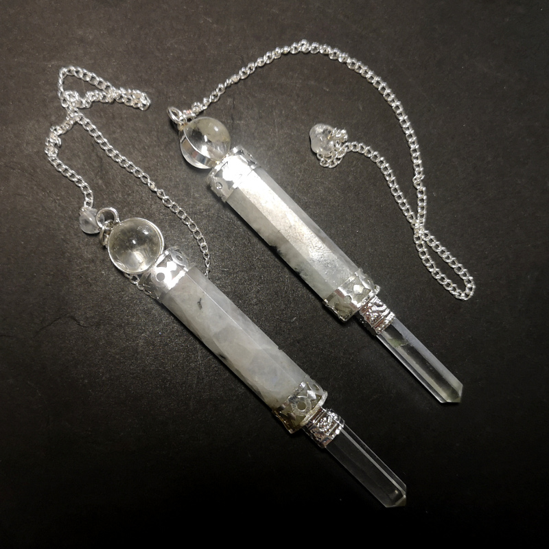 Moonstone Pendulum with Quartz Sphere and Point Specialty Items moonstone