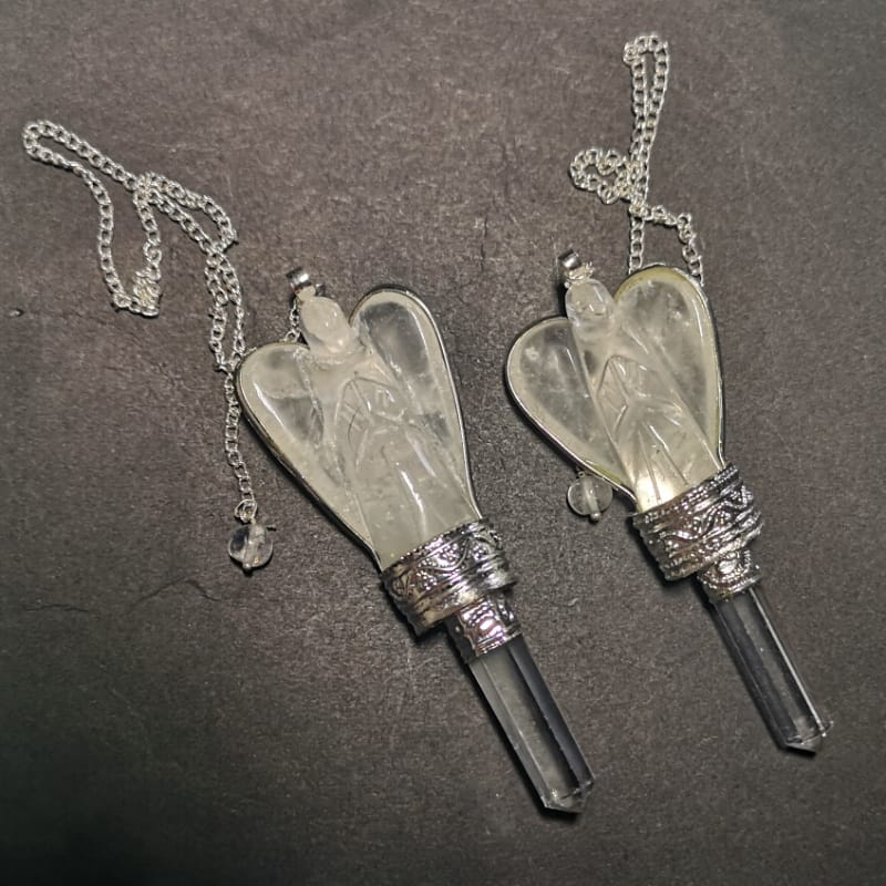 Clear Quartz Angel Pendulum with Quartz Point All Specialty Items angel