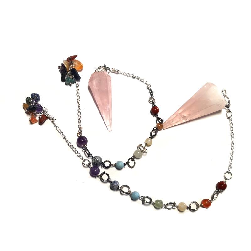 Rose Quartz Pendulum, Six Sided Point with Chakra Chip Bracelet All Crystal Jewelry bracelet