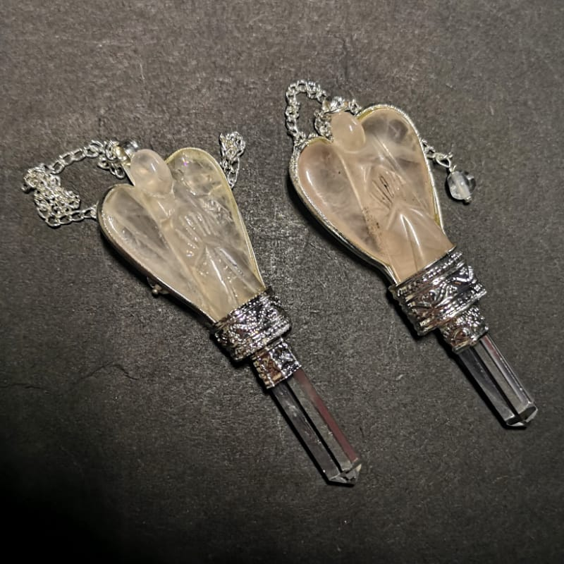 Rose Quartz Angel Pendulum with Quartz Point Specialty Items angel