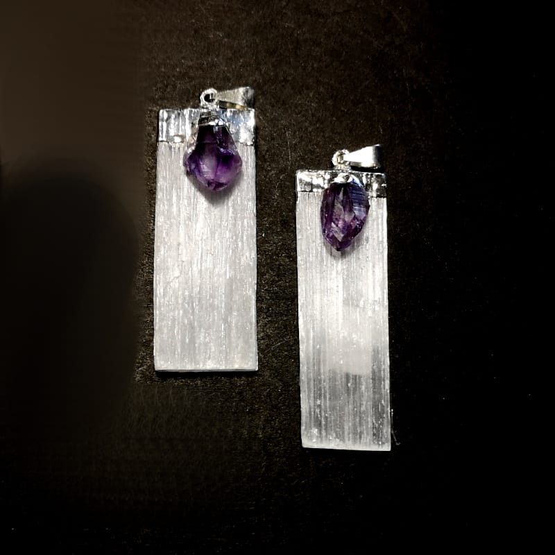 Selenite with Amethyst Pendant All Crystal Jewelry amethyst