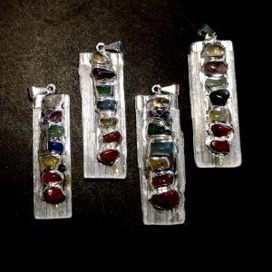 Selenite with Chakra Stones Pendant All Crystal Jewelry chakra