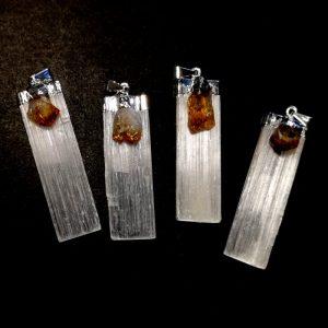 Selenite with Citrine Pendant All Crystal Jewelry Citrine
